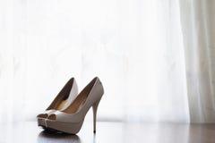 White high-heeled shoes Stock Photo