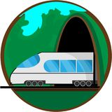 Travel by train. Vector illustration for your design royalty free illustration