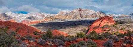 White Hills. Panoramic Composition Of Snow Canyon State Park In Winter With White Hills In Background Stock Photo