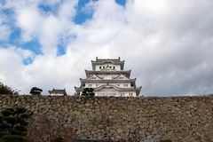 White Himeji Castle on the sunlight with blue sky background. Himeji Castle also known as White Heron Castle. stock images