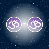 White hippie glasses with white symbol om aum and purple glass o vector illustration