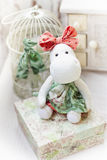 White hippo toy with textile and sewing accessory Royalty Free Stock Images