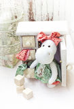 White hippo toy with textile and sewing accessory Royalty Free Stock Image