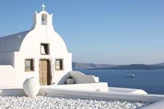 White historic chapel on Santorini Island, Greece Royalty Free Stock Photos