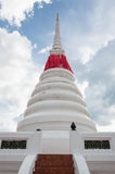 White historical pagoda with a missing lotus statue Royalty Free Stock Photography
