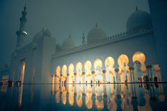 White history heritage islamic monument mosque in abu dhabi Royalty Free Stock Image