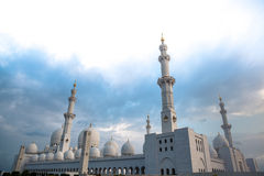 White history heritage islamic mosque in abu dhabi Stock Photography