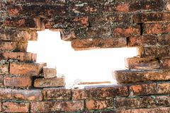 White hole in old brick wall frame Royalty Free Stock Image