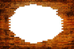 White hole in old wall. Brick frame Stock Photography