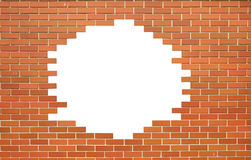 White hole in old wall. Brick frame Royalty Free Stock Photos