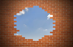 White hole in old wall, Stock Image