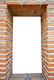 White hole in old wall, brick frame Stock Photos