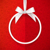 White holiday round frame with bow and silky Royalty Free Stock Photos