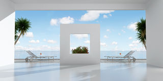 White holiday villa. With terrace overlooking the sea - rendering Stock Photos