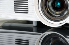White home cinema projector, mirroring on the surface Stock Photos