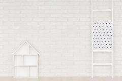White home interior with ladder royalty free stock photo