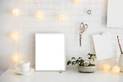 White home office room interior, bloggers workplace Royalty Free Stock Photo