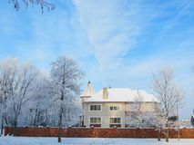 Beautiful home in winter, Lithuania Royalty Free Stock Photo