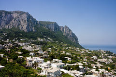 White Homes Along Mountainous Coast Stock Photography