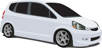 White Honda Fit Wagon. A Vector .eps illustration of a compact white Honda Fit hatchback. Saved in layers for easy editing. See my portfolio for more automotive royalty free illustration