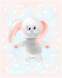 White  honey bunny. Happy Easter card. Royalty Free Stock Images