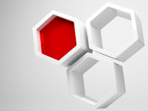 White honeycomb structure and red segment Stock Image