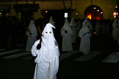 White hooded. In the famous holy easter procession of piano di sorrento in italy.29/3/13 stock image