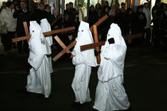 White hooded. The white hoodeds at the famous easter procession of piano di sorrento in italy.29/3/13 Royalty Free Stock Photo