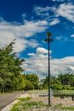 White horn speaker. On white cloud background in the park Stock Photos