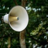 White horn speaker. On concrete pole Royalty Free Stock Photos