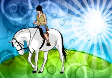White horse. Young girl with horse in the nature Royalty Free Stock Photo