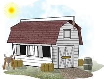 White Horse Barn. This illustration that I created depicts a white barn for horses Stock Photos