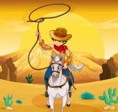 A white horse with a cowboy Stock Photos