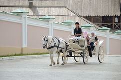 White horse driven carriage with people stock photography