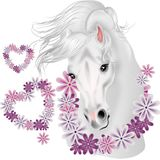 White horse with floral hearts Royalty Free Stock Photo