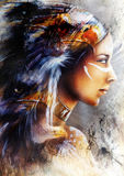 mystical young indian woman with eagle feather headdress, beautiful painting illustration. Beautiful painting of a young indian woman with feather headdress Royalty Free Stock Photos