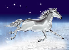 White horse galloping on a black background Royalty Free Stock Photos