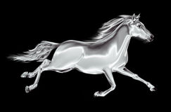 White horse galloping on a black background Royalty Free Stock Images