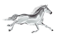 White horse galloping on a white background. Stock Photos