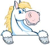 White horse mascot cartoon head Stock Photos