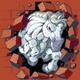 White Horse Mascot Crashing Through Wall Vector Illustration. Cartoon vector clip art illustration of a tough mean white horse or bronco or colt mascot crashing royalty free illustration