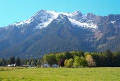 White Horse Mountain and Ranch. White Horse Mountain and a rural ranch, near Darrington, Washington Stock Image