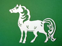White horse. Paper cutting Stock Images