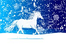 White horse sketch for your design. Symbol of 2014 Stock Photo