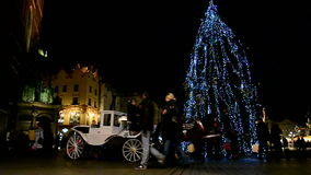 White horse train, christmas in Krakov, Poland, stock footage