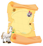 A white horse and a treasure map Stock Image