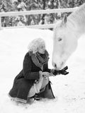 White horse and woman Royalty Free Stock Photos