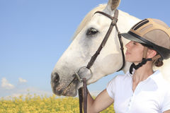 White horse on yellow flower field with a rider Stock Photography