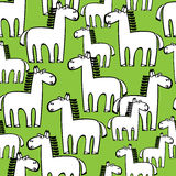 White horses seamless pattern on green Royalty Free Stock Photography