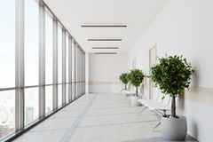 White hospital lobby. With a row of doors and white chairs for patients waiting for the doctor visit. 3d rendering mock up Royalty Free Stock Image